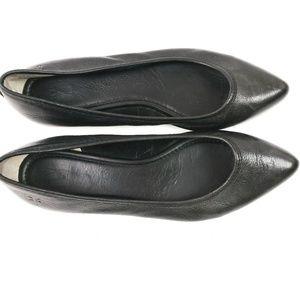 FRYE Regina Ballet Flats Black Leather Pointy Toe